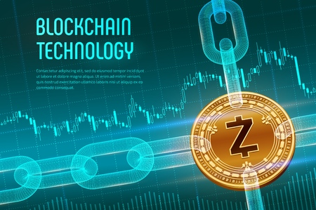 Zcash. Crypto currency. Block chain. 3D isometric Physical golden Zcash coin with wireframe chain on blue financial background. Blockchain concept. Editable Cryptocurrency template. Vector illustration