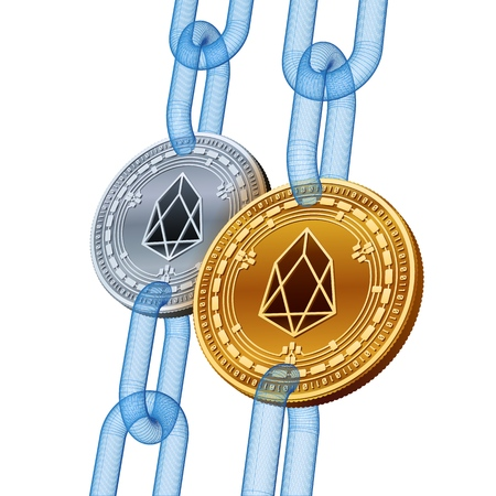 EOS. Cryptocurrency. Blockchain. Golden and Silver EOS coins with wireframe chain. 3D isometric Physical coins. Block chain concept. Editable template. Stock vector illustration
