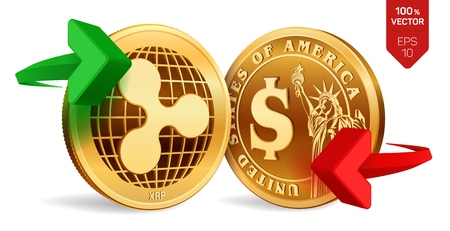 Ripple to dollar currency exchange. Ripple. Dollar coin. Cryptocurrency. Golden coins with Ripple and Dollar symbol with green and red arrows. 3D isometric Physical coins. Vector illustration Ilustração