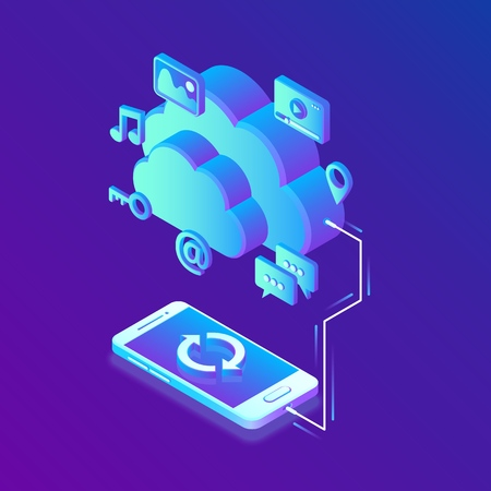 Cloud storage. Cloud Computing Technology Isometric Concept with Smartphone Icons. Data transfers on Internet from gadget to gadget. Synchronization of devices. Vector illustration Ilustrace