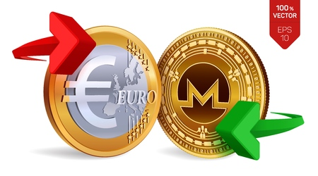 Monero to Euro currency exchange. Monero. Euro coin. Cryptocurrency. Golden coins with Monero and Euro symbol with green and red arrows. 3D isometric Physical coins. Vector illustration