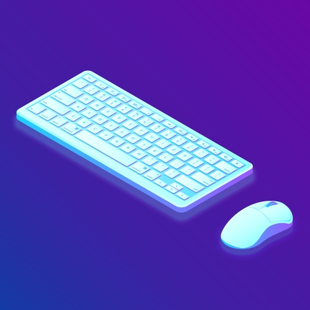 Keyboard. Mouse. Isometric Keyboard and Mouse. Created For Mobile, Web, Decor, Print Products, Application. Perfect for web design, banner and presentation. Vector Illustration