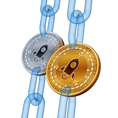 Stellar. Cryptocurrency. Blockchain. Golden and Silver Stellar coins with wireframe chain. 3D isometric Physical coins. Block chain concept. Editable template. Stock vector illustration
