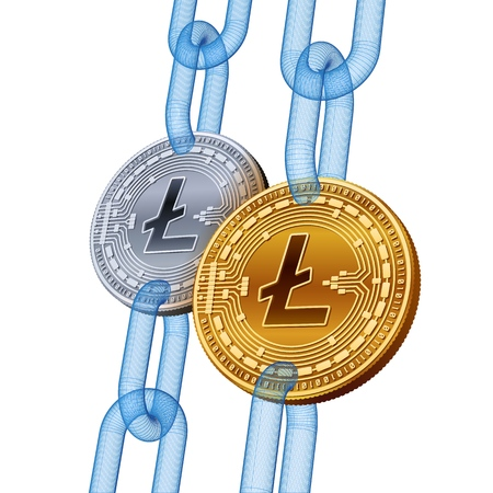 Litecoin. Cryptocurrency. Blockchain. Golden and Silver Litecoin coins with wireframe chain. 3D isometric Physical coins. Block chain concept. Editable template. Stock vector illustration