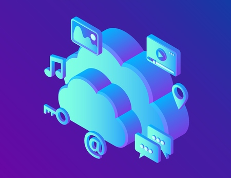 Cloud computing. Cloud with apps. Data storage device,media server. Web hosting and cloud technology. Backup, copy, migrate data between cloud storage services. Vector Illustration