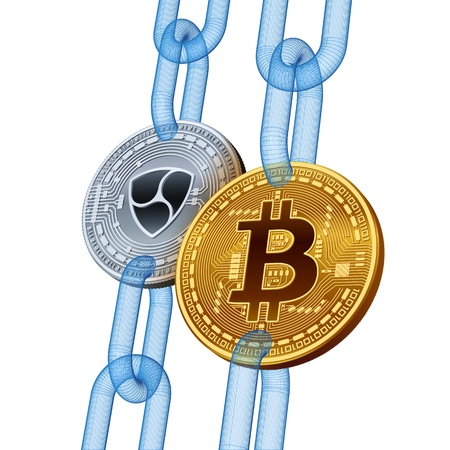 Bitcoin. Nem. Cryptocurrency. Blockchain. Golden Bitcoin and silver Nem coins with wireframe chain. 3D isometric Physical coins. Block chain concept. Editable template. Vector illustration