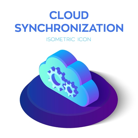 Cloud Synchronization Isometric Icon. Cloud Sign. Refresh Icon. Sync Sign. Created For Mobile, Web, Decor, Print Products, Application. Perfect for web design, banner and presentation Vector