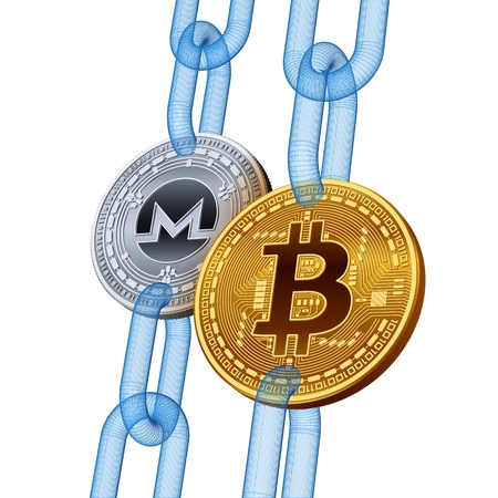Bitcoin. Monero. Cryptocurrency. Blockchain. Golden Bitcoin and silver Monero coins with wireframe chain. 3D isometric Physical coins. Block chain concept. Editable template. Vector illustration