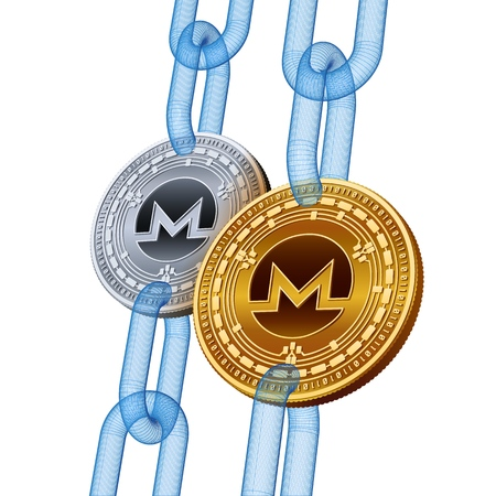 Monero. Cryptocurrency. Blockchain. Golden and Silver Monero coins with wireframe chain. 3D isometric Physical coins. Block chain concept. Editable template. Stock vector illustration