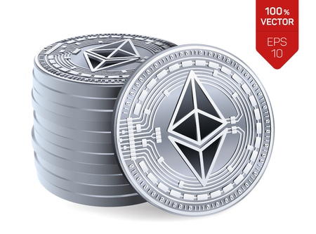 Ethereum. 3D isometric Physical coins. Digital currency. Cryptocurrency. Stack of silver coins with Ethereum symbol isolated on white background. Stock vector illustration Illustration