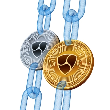 Nem. Cryptocurrency. Blockchain. Golden and Silver Nem coins with wireframe chain. 3D isometric Physical coins. Block chain concept. Editable template. Stock vector illustration