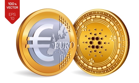 Cardano. Euro Coin. 3D isometric Physical coins. Digital currency. Cryptocurrency. Golden coins with Cardano and Euro symbol isolated on white background. Vector illustration