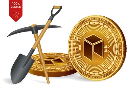 Neo mining concept. 3D isometric Physical bit coin with pickaxe and shovel. Digital currency. Cryptocurrency. Golden Neo coins isolated on white background. Vector illustration 写真素材 - 122476001