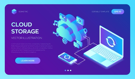 Cloud storage. Cloud Computing Technology Isometric Concept with Laptop and Smartphone Icons. Data transfers on Internet from gadget to gadget. Synchronization of devices. Vector illustration