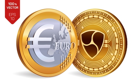 Nem. Euro. 3D isometric Physical coins. Digital currency. Cryptocurrency. Golden coins with Nem and Euro symbol isolated on white background. Vector illustration