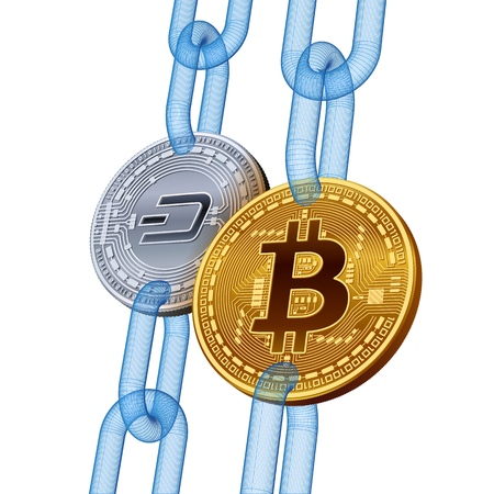Bitcoin. Dash. Cryptocurrency. Blockchain. Golden Bitcoin and silver Dash coins with wireframe chain. 3D isometric Physical coins. Block chain concept. Editable template. Vector illustration