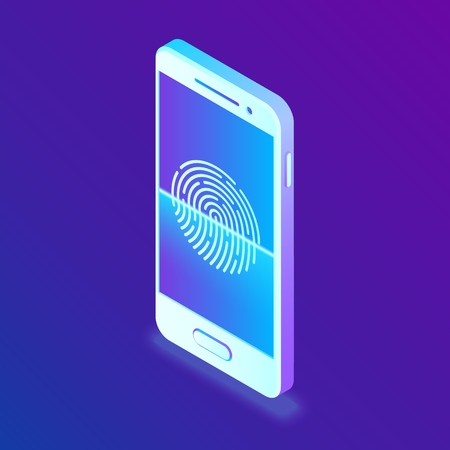 Scanning fingerprint on smartphone. Unlock mobile phone. Biometrics security. Touch screen smartphone with a zone to touch the human finger, to unlock the device. Isometric Vector Illustration 스톡 콘텐츠 - 122476024