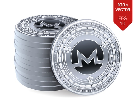 Monero. Crypto currency. 3D isometric Physical coins. Digital currency. Stack of silver coins with Monero symbol isolated on white background. Stock vector illustration