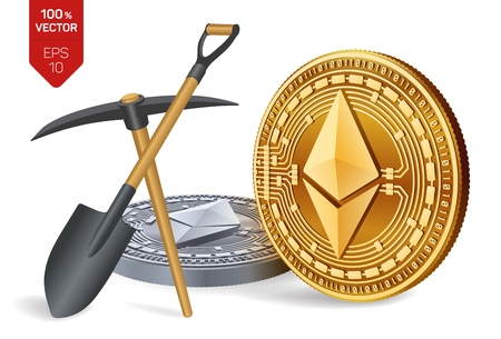 Ethereum mining concept. 3D isometric Physical bit coin with pickaxe and shovel. Digital currency. Cryptocurrency. Golden and silver Ethereum coins isolated on white background. Vector illustration