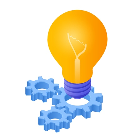 Idea Isometric Icon. Light Bulb with gears. Lamp Bulb Icon. Created For Mobile, Web, Decor, Print Products, Application. Perfect for web design, banner and presentation. Vector Illustration Ilustração
