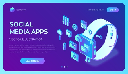 Social media apps on a Smart Watch. Social media 3d isometric icons. Mobile apps. Created For Mobile, Web, Decor, Application. Perfect for web design, banner and presentation. Vector Illustration