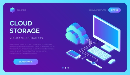Cloud storage. Cloud Computing Technology Isometric Concept with Computer, Smartphone and Smart Watch Icons. Data transfers on Internet from gadget to gadget. Synchronization of devices. Vector