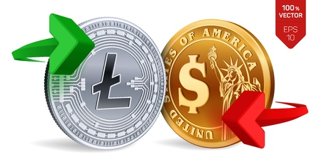 Litecoin to dollar currency exchange. Litecoin. Dollar coin. Cryptocurrency. Golden and silver coins with Litecoin and Dollar symbol with green and red arrows. 3D isometric Physical coins. Vector illustration Ilustração