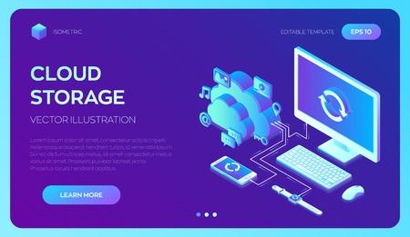 Cloud storage. Cloud Computing Technology Isometric Concept with Computer, Smartphone and Smart Watch Icons. Data transfers on Internet from gadget to gadget. Synchronization of devices. Vector.