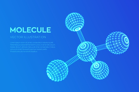 Molecule Structure. Dna, atom, neurons. Molecules and chemical formulas. 3D Scientific molecule background for medicine, science, technology, chemistry, biology Vector illustration