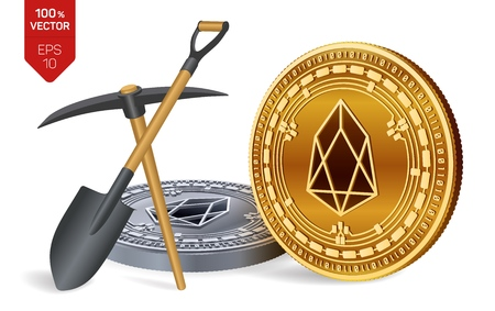 EOS mining concept. 3D isometric Physical bit coin with pickaxe and shovel. Digital currency. Cryptocurrency. Golden and silver EOS coins isolated on white background. Vector illustration 写真素材 - 122476081