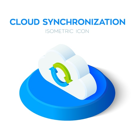 Cloud Synchronization Isometric Icon. Cloud Sign. Refresh Icon. Sync Sign. Created For Mobile, Web, Decor, Print Products, Application. Perfect for web design, banner and presentation. Vector. Иллюстрация