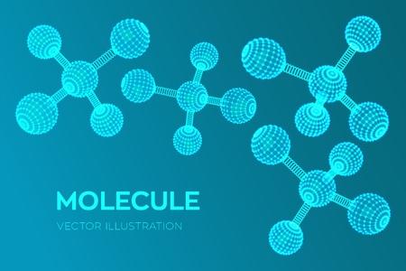 Molecule Structure. Dna, atom, neurons. Molecules and chemical formulas. 3D Scientific molecule background for medicine, science, technology, chemistry, biology Vector illustration Ilustrace