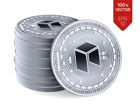 Neo. 3D isometric Physical coins. Digital currency. Cryptocurrency. Stack of silver coins with Neo symbol isolated on white background. Stock vector illustration