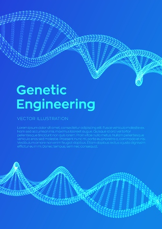 DNA sequence. Wireframe DNA molecules structure mesh. DNA code editable template. Science and Technology concept. Flyer or brochure template. Vector illustration.