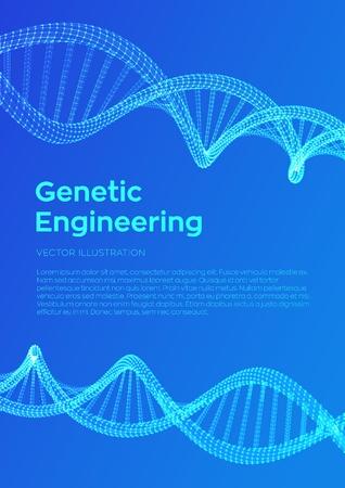 Secuencia de ADN. Malla de estructura de moléculas de ADN de estructura metálica. Plantilla editable de código de ADN. Concepto de ciencia y tecnología. Plantilla de volante o folleto. Ilustración vectorial.