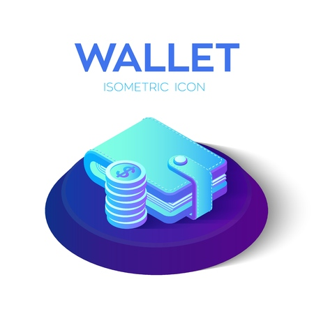 Wallet Icon. 3D Isometric Wallet icon with coins. Payment concept. Created For Mobile, Web, Decor, Print Products, Application. Perfect for web design, banner and presentation. Vector Illustration