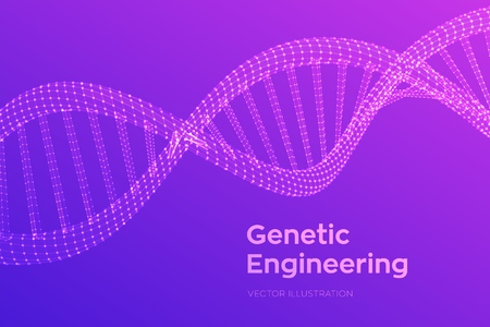 DNA sequence. Wireframe DNA molecules structure mesh. DNA code editable template. Science and Technology concept. Vector illustration. Çizim