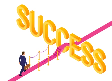 Road to success. Business Strategy Concept. Businessman with briefcase in hand walking on red carpet to the success. Strategy and solutions for business leadership. Creative Idea. Vector Illustration