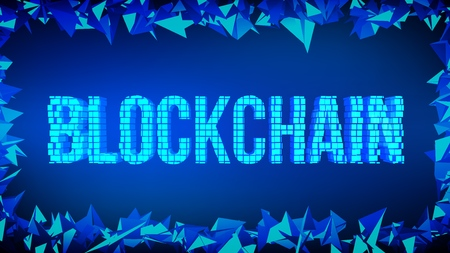Block chain concept. 3d Blockchain word built with cubes. Crypto currency. Editable cryptocurrency template. Stock vector illustration Ilustração