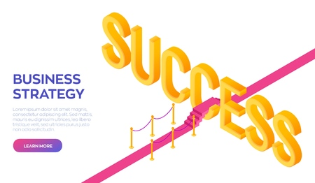 Road to success. Business Strategy Concept. Red carpet to the success. Strategy and solutions for business leadership. Creative design for greetings card, flyers and posters. Vector Illustration