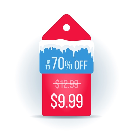 Winter Sale tags. Christmas label with ice caps. Vector illustration