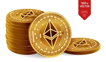 Ethereum. 3D isometric Physical coins. Digital currency. Cryptocurrency. Stack of golden coins with Ethereum symbol isolated on white background. Stock vector illustration Ilustrace