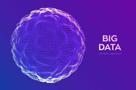 Abstrakter Bigdata-Wissenschaftshintergrund. Kugelgitterwelle. Big-Data-Innovationstechnologie. Analyse von Blockchain-Netzwerken. Futuristisches Ai-Tech-Drahtmodell. Künstliche Intelligenz. Vektor-Illustration Vektorgrafik