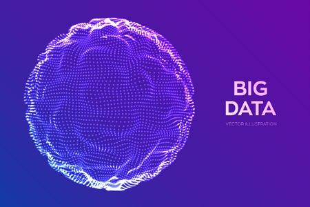 Fondo astratto di scienza dei bigdata. Onda di griglia della sfera. Tecnologia di innovazione dei big data. Analisi della rete blockchain. Wireframe futuristico con tecnologia Ai. Intelligenza artificiale. Illustrazione vettoriale Vettoriali