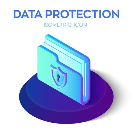 Folder Icon. 3D Isometric Locked Folder sign. Data Protection Concept. Secure Data. Security Shield. Created For Mobile, Web, Decor Application. Perfect for web design banner and presentation. Vector