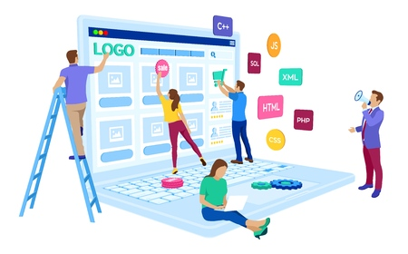 Web development. Project team of engineers for website create. Webpage building. UI UX design. Characters on a concept. Web agency. Template for programmer or designer. Vector illustration Çizim