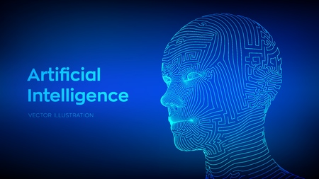 Artifactial intelligence concept. Ai digital brain. Human head in robot digital computer interpretation. Wireframe head concept. Vector illustration.