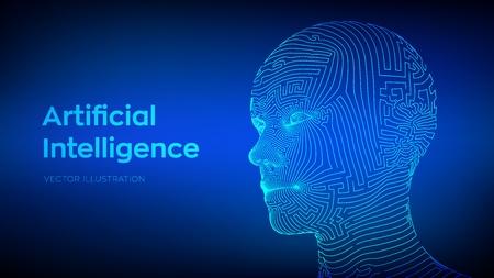 Artifactial intelligence concept. Ai digital brain. Human head in robot digital computer interpretation. Wireframe head concept. Vector illustration.