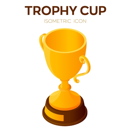 Trophy cup icon. Award, winner or champion cup 3D Isometric Icon. Created For Mobile, Web, Decor, Print Products, Application. Perfect for web design, banner and presentation. Vector Illustration
