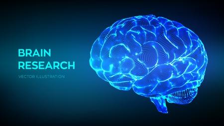 Cerebro. Investigación del cerebro humano. Concepto de ciencia y tecnología 3D. Red neuronal. Pruebas de IQ, tecnología de ciencia de emulación virtual de inteligencia artificial. Piensa en una lluvia de ideas. Ilustración vectorial
